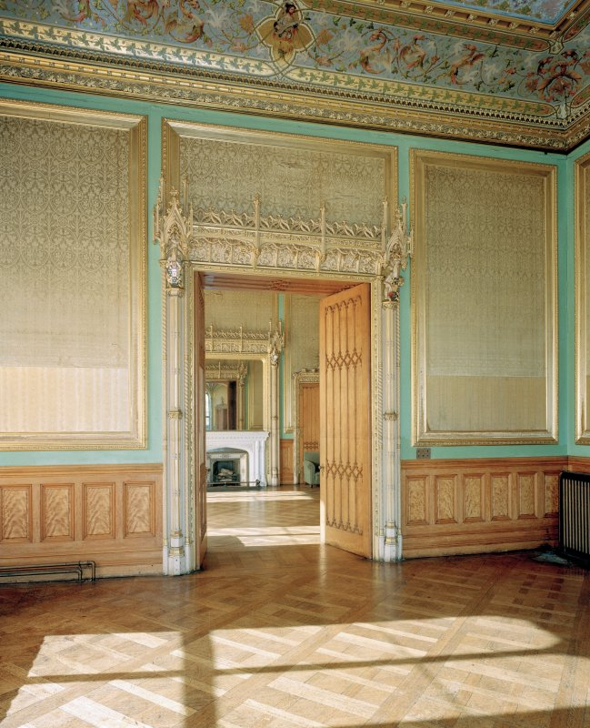 Taymouth Castle. Chinese drawing-room, view of west doorway leading to ante-room.