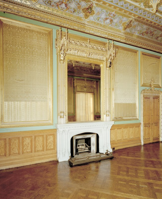 Taymouth Castle.  1st. floor, Chinese drawing-room, view of fireplace with mirror above.