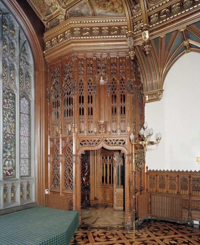 Taymouth Castle.  1st. floor, Banner hall, view of doorway at South West corner.
