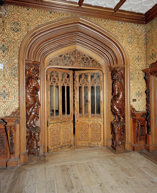 Taymouth Castle.  1st. floor, Gallery, view of doorway at East end from West.