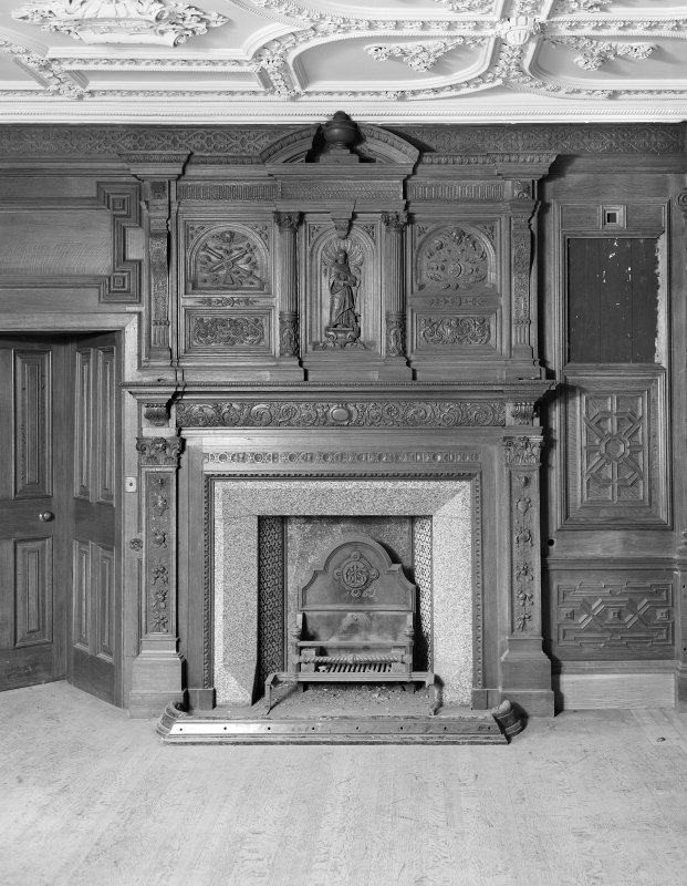 Interior. Detail of chimney piece and overmantel in drawing room.