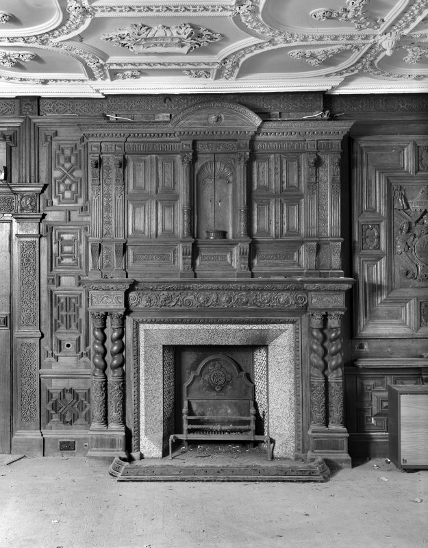 Interior. Detail of E chimney piece and overmantel in drawing room.