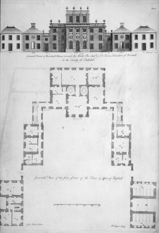 Plan and elevation. Titled: 'General Front of Rosehall House towards the North, The Seat of Sir James Hamilton of Rosehall in the County of Clydesdale'. 'General Plan of the first floor of the House & Offices of Rosehall'.