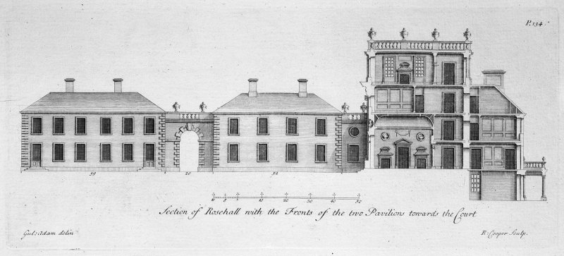 Section and elevation of pavilions. Titled: 'Section of Rosehall with the Fronts of the two Pavillions towards the court'.