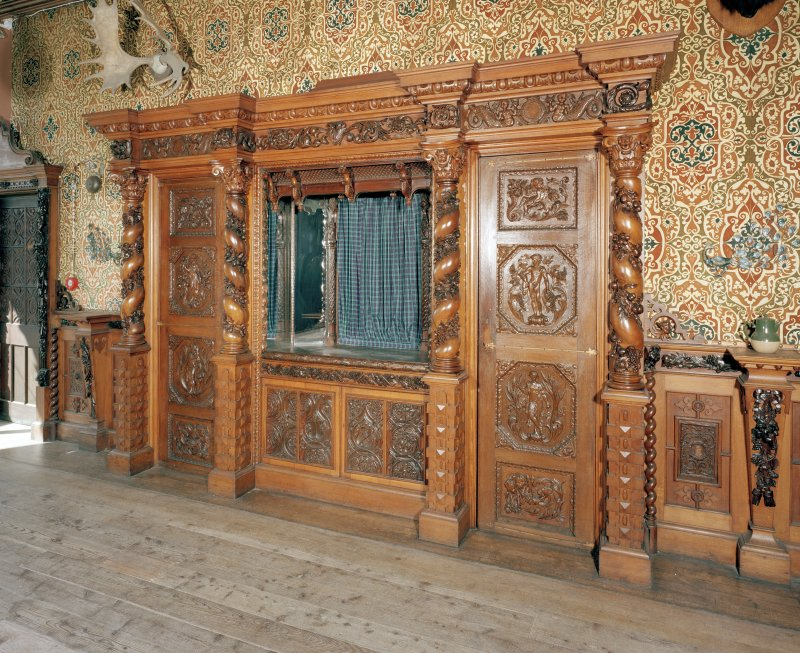 Taymouth Castle.  1st. floor, Gallery, view of carved wooden dresser.