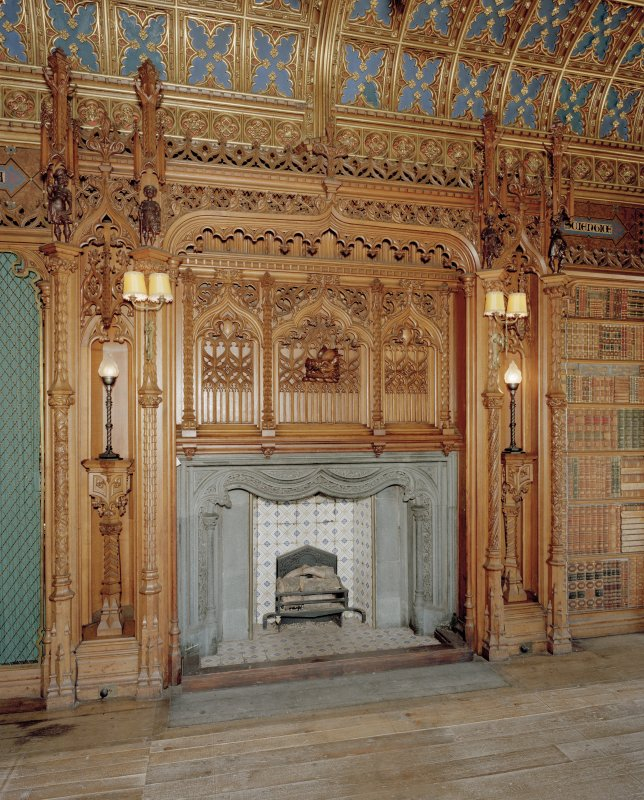 Taymouth Castle.  1st. floor, Library, view of fireplace.