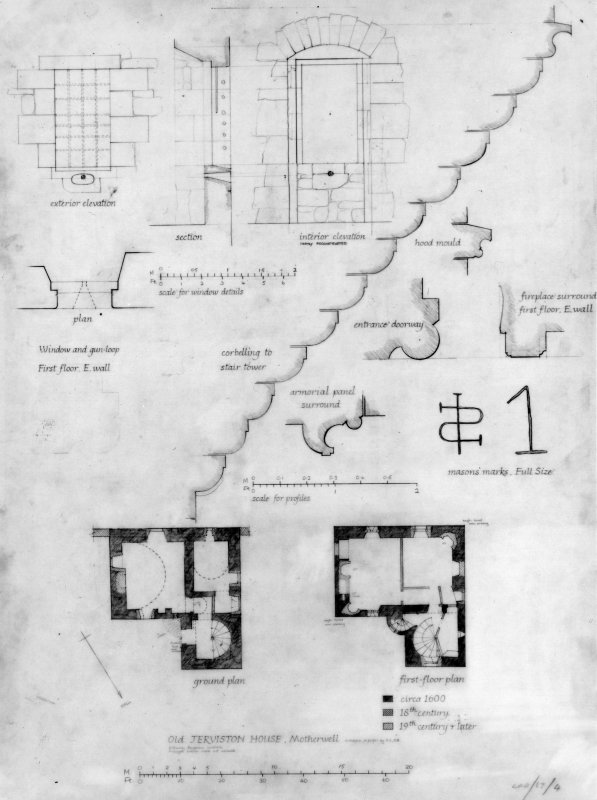 Ground and first floor plans and masons' marks and details.