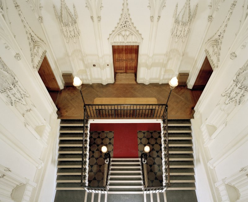 Interior view of main staircase at Taymouth Castle.