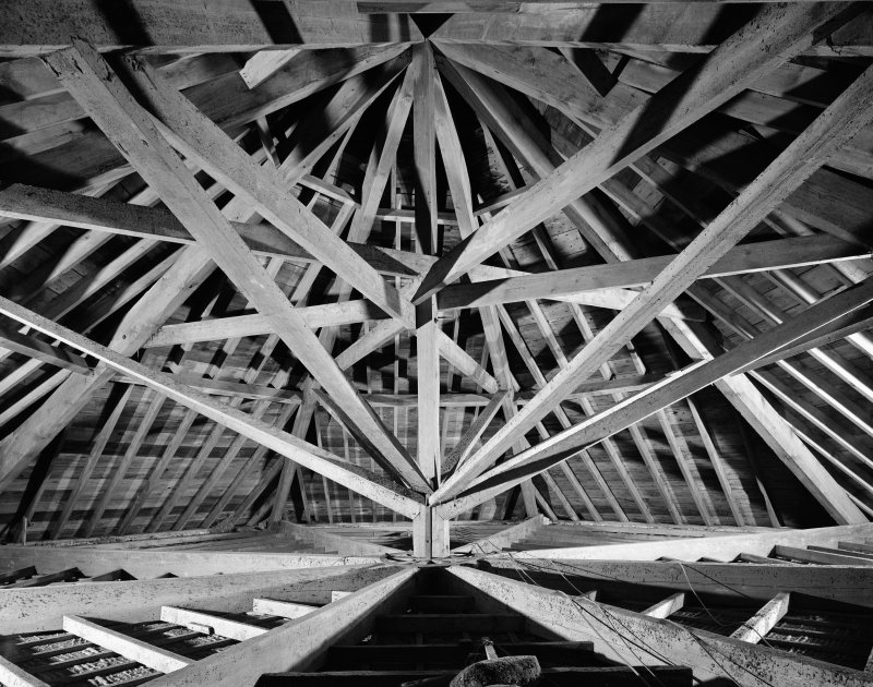 Dalmally Parish Church, interior. View of roof beams.