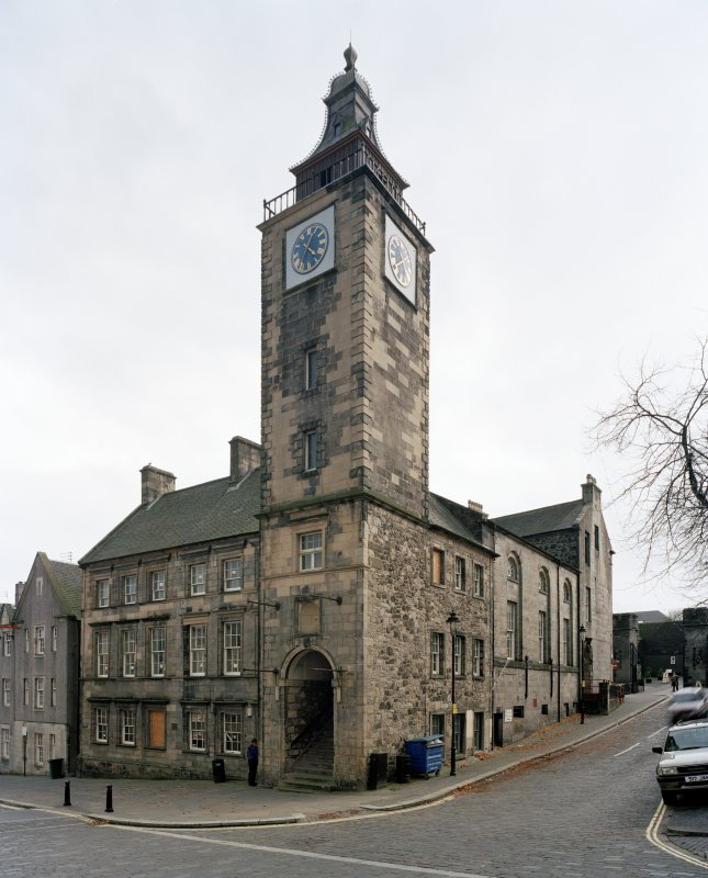 View from North East showing the tolbooth with the assembley hall behind and the courthouse beyond