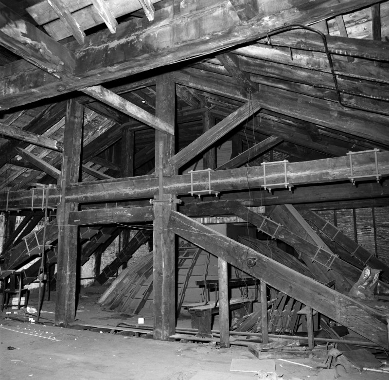 Trades House, interior View of structural timberwork in roof space above Banqueting Hall