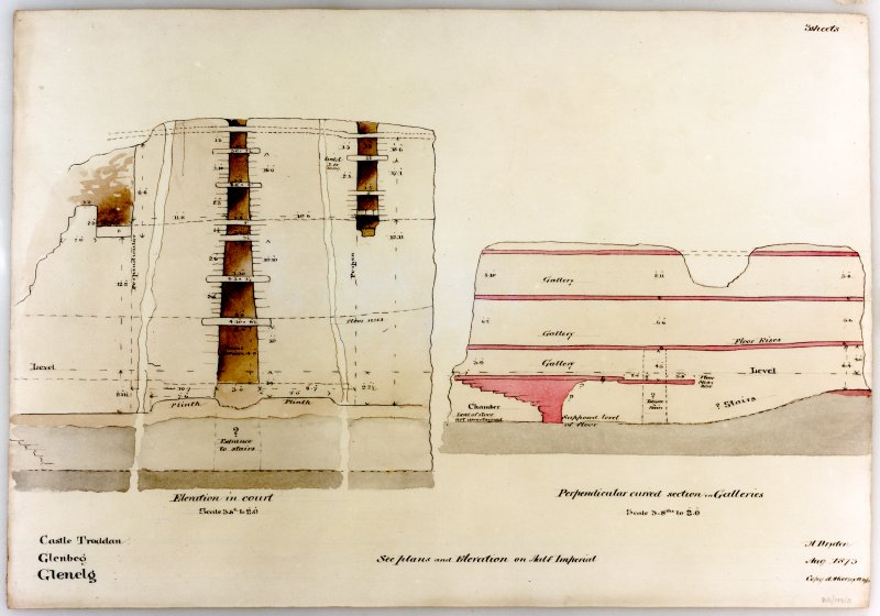 Elevation of interior wall; perpendicular curved section of galleries H Dryden 1873 copied by A H Kersey 1873. Copied in B&W and colour, 1993.  Photographic copy of a drawing.