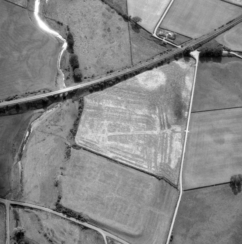 Oblique aerial view of Birrens Roman Fort.