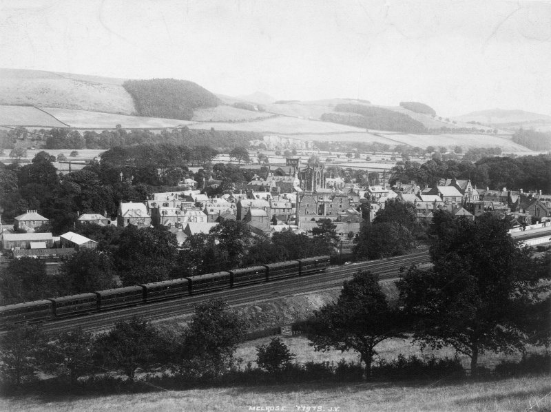 View of Melrose with the railway line in the foreground.