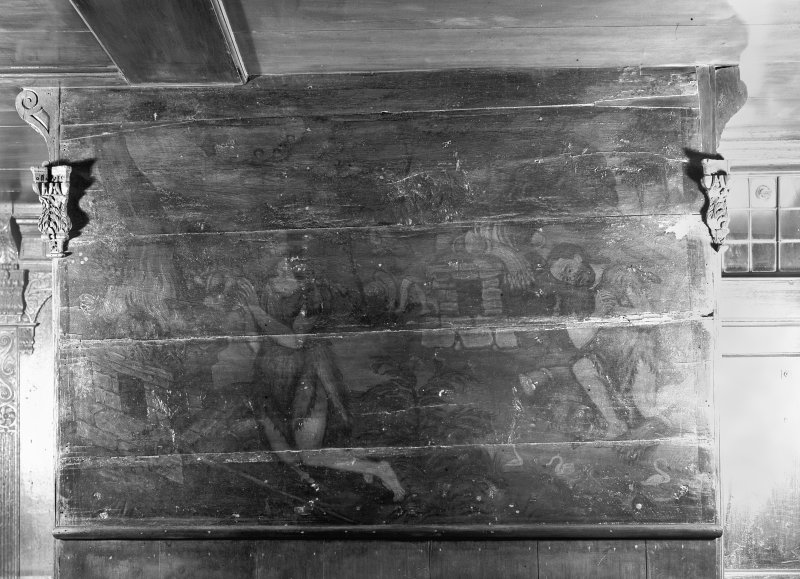 JOhn Knox's House, 45 High Street, Edinburgh. Interior-detail of panel from painted ceiling on Second Floor