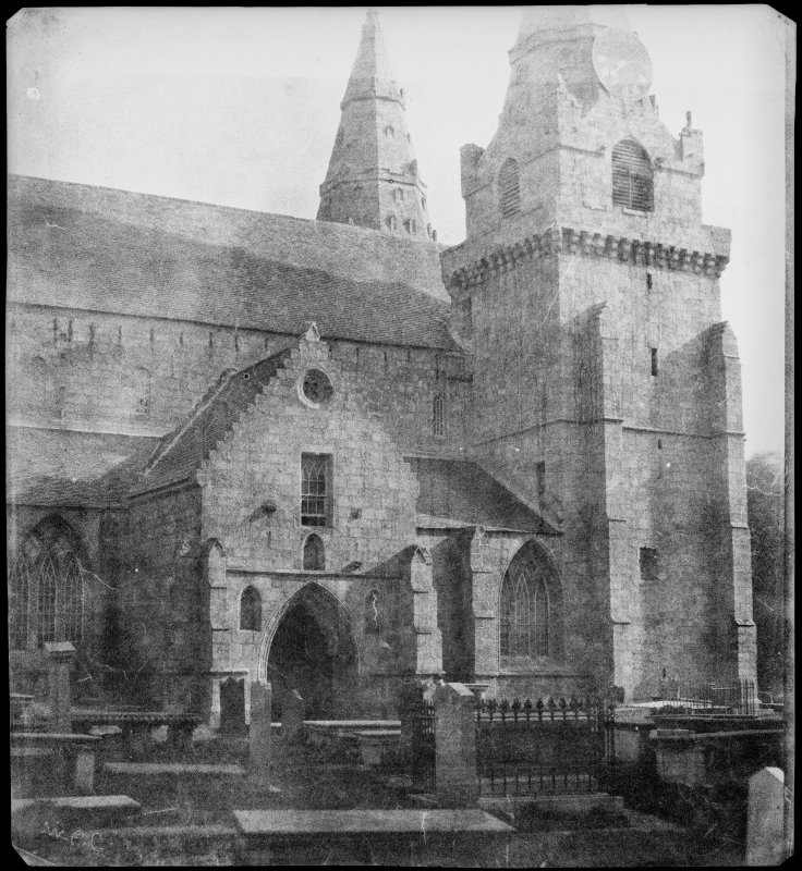 View of South face of Cathedral and South porch, St Machar's Cathedral, Aberdeen.