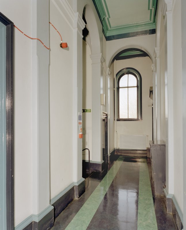Interior. Main hall, view of art halls corridor
