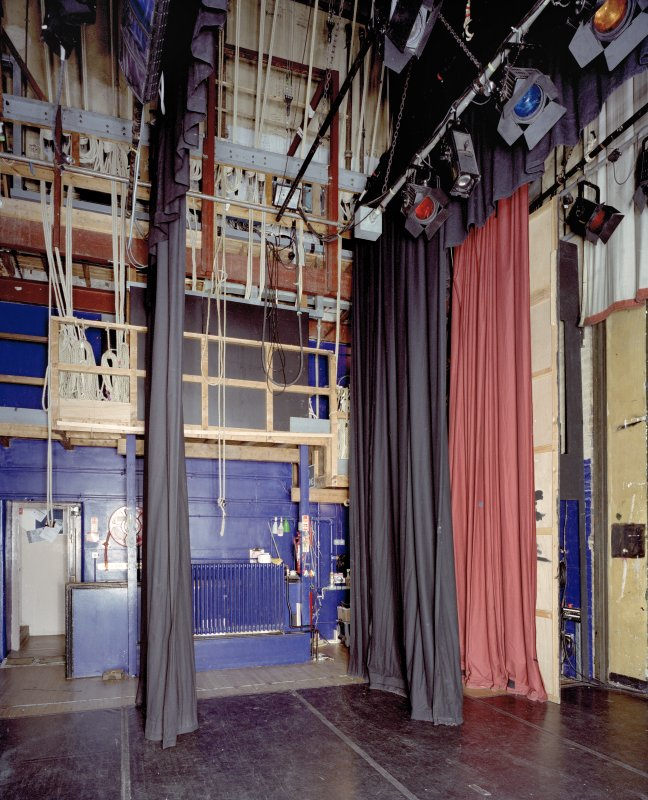 Interior. Theatre, view of backstage and fly floor