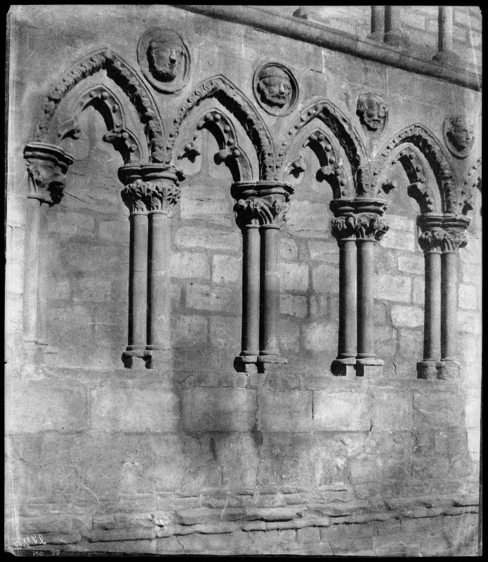Detailed view of an arcaded wall, Holyrood Abbey.