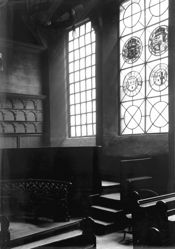 Interior-general view of stained glass windows and part of wood panelling