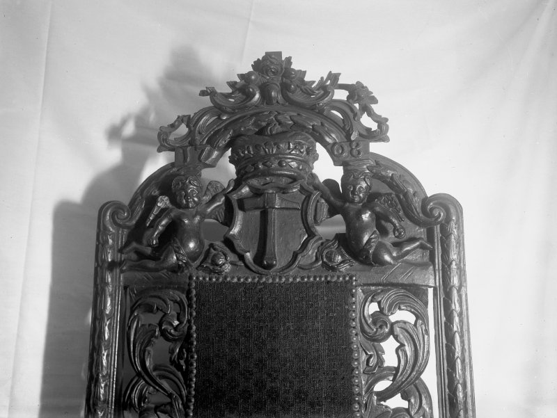 Detail of back of Hammermen's chair, ( in Royal Scottish Museum?)