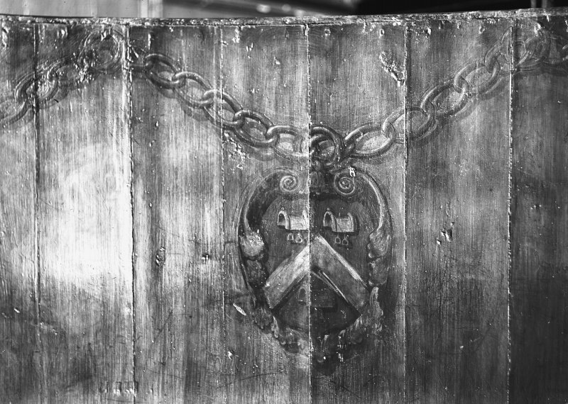 Interior-detail of insignia of the Saddlers painted on wooden panelling. Inv. fig. 184