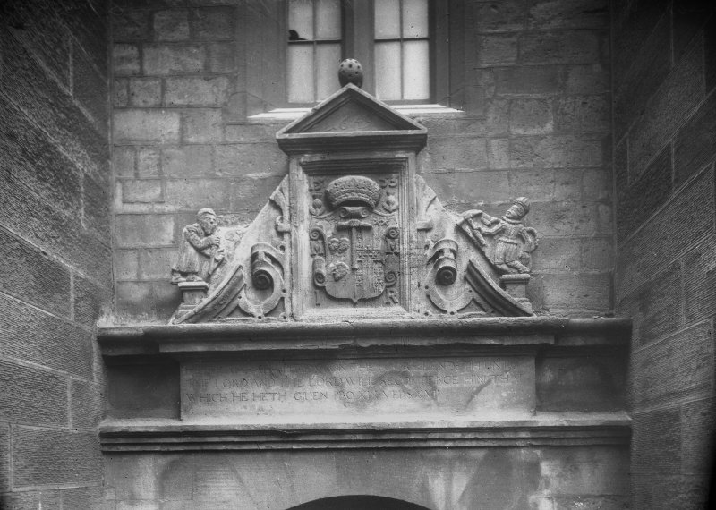 Detail of sculptured stone over doorway
