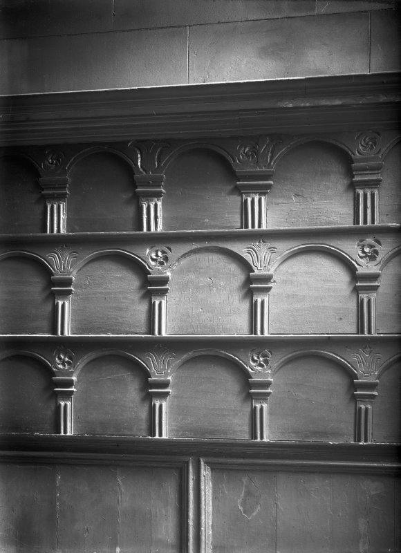 Interior-detail of panelling at East end. Inv. fig. 180
