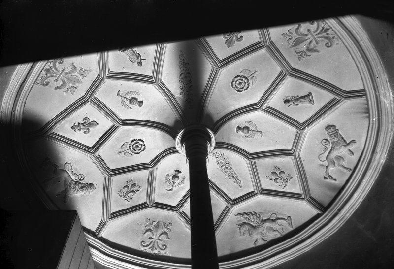 Interior view of Moray House.  Ceiling of circular stair.