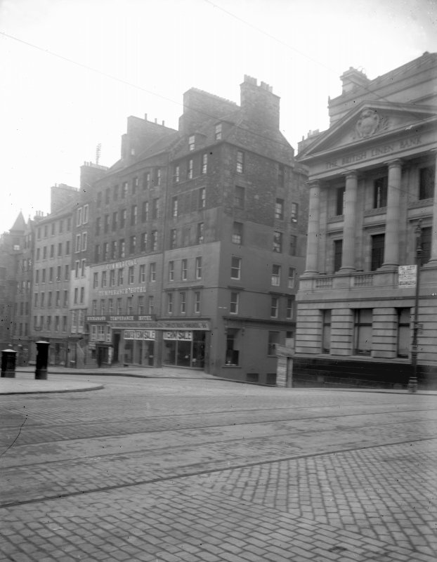 General view of High Street between Canongate and North Bridge also showing High Street end of Niddry Street