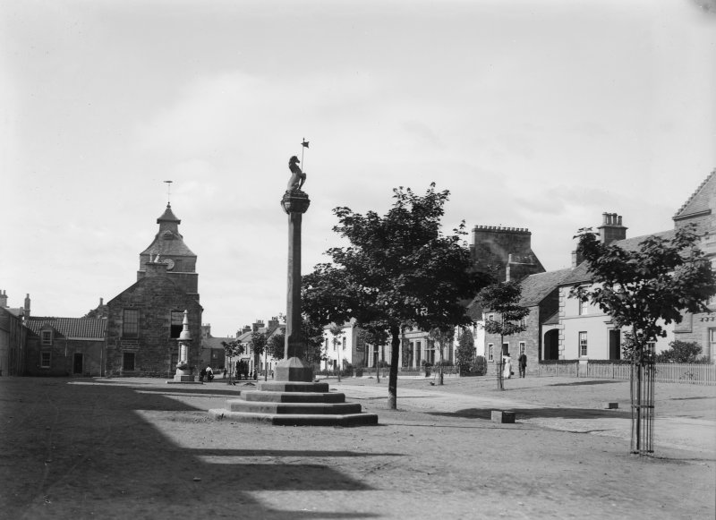 General view from north east of Marketgate including the Mercat Cross and in the distance the Town Hall, Crail.