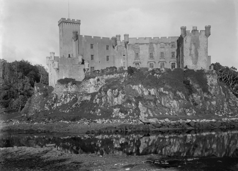 Dunvegan Castle from the west, showing tower and courtyard.