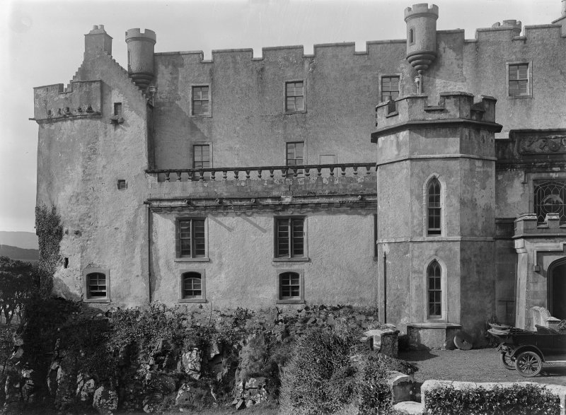 Dunvegan Castle. General view from East showing Fairy Tower and 16th Century house.
