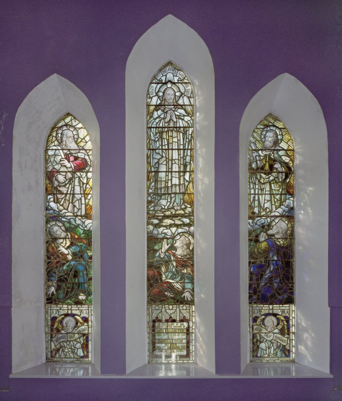 Interior. Upper hall. Detail of Memorial stained glass windows to David Ballantine and Isabella Milne. Detail