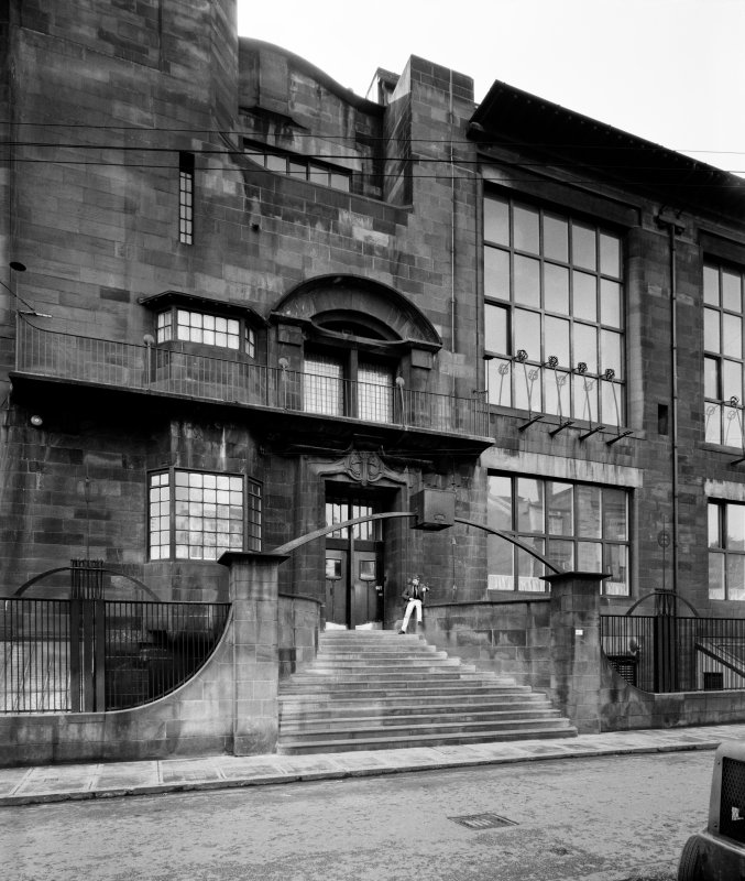Glasgow School of Art. Digital copy of photograph of view of main entrance doorway.