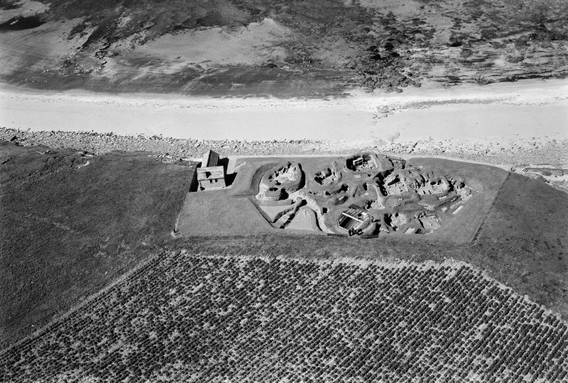 Oblique aerial view of Skara Brae settlement.