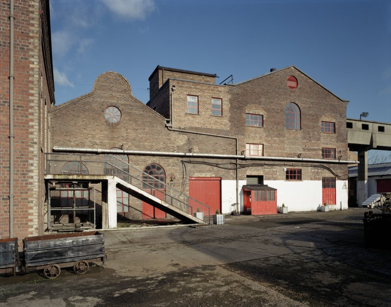 Digital copy of photograph of view of old and new power station buildings from South.