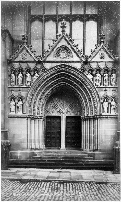 Exterior view of the West door.