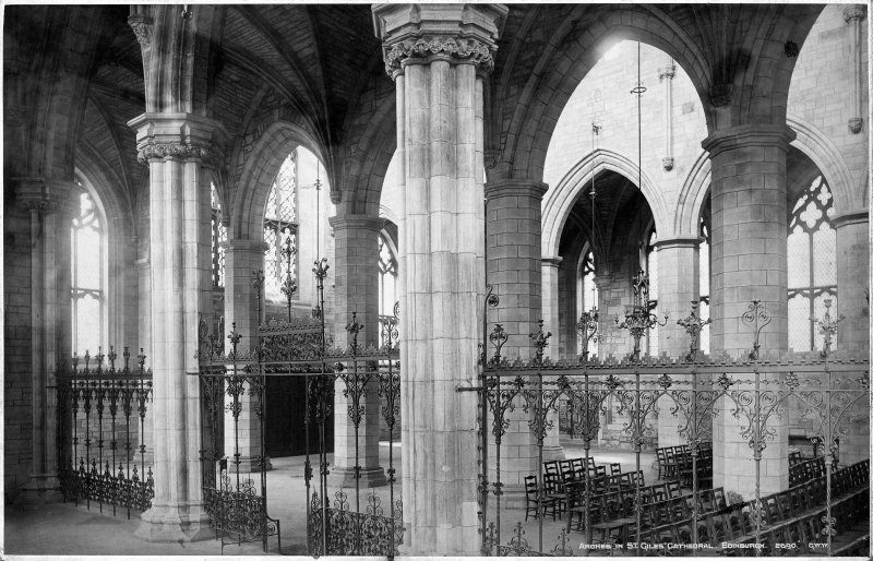 Interior view showing the arches of St Giles.