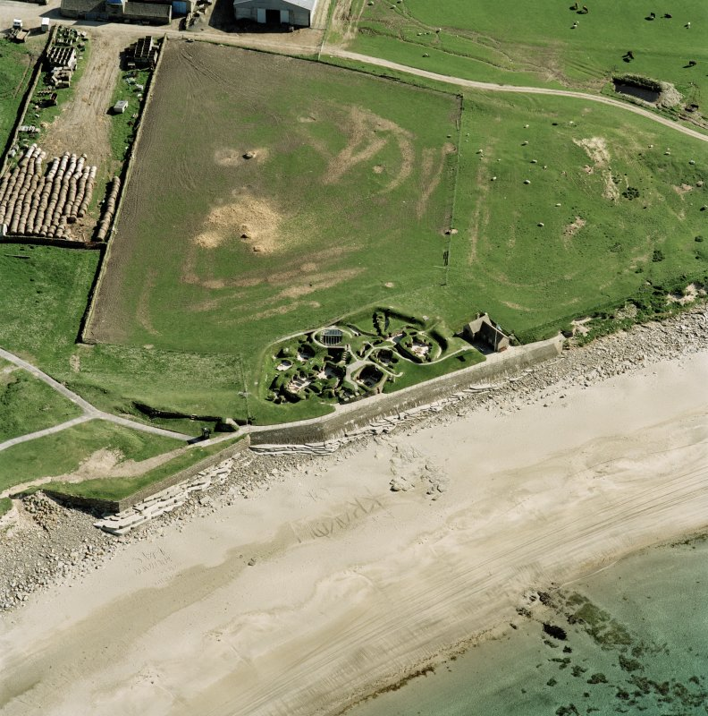 Oblique aerial view of Orkney, Bay of Skaill, taken from the N, Skara Brae settlement.