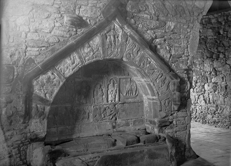 St Clement's Church, Rodel. Interior. View of Macleod's tomb.