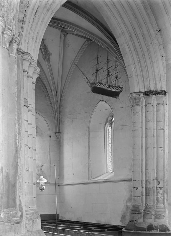 South transept, showing votive model of frigate hanging from ceiling. Model dates c.1800