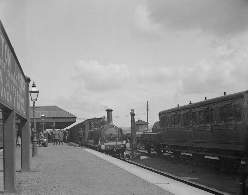Platform view of Thornton Station from south showing steam locomotive 203 - Class T of William Pickersgill (Supt.) (1894-1914). LNER Class D41 4-4-0 wheeled, Manufacturer Neilson & Co.1895–98.