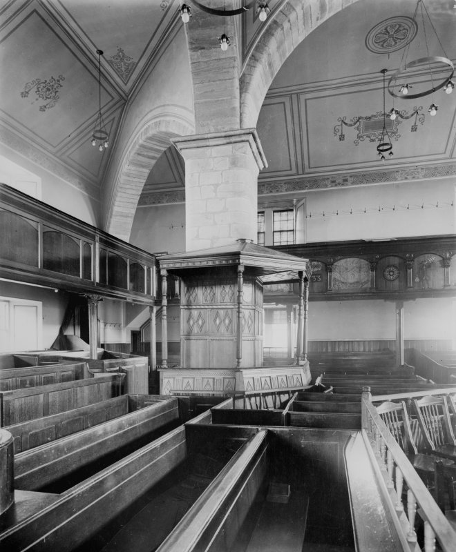 Interior - view towards magistrates pew Copy of vintage photograph.