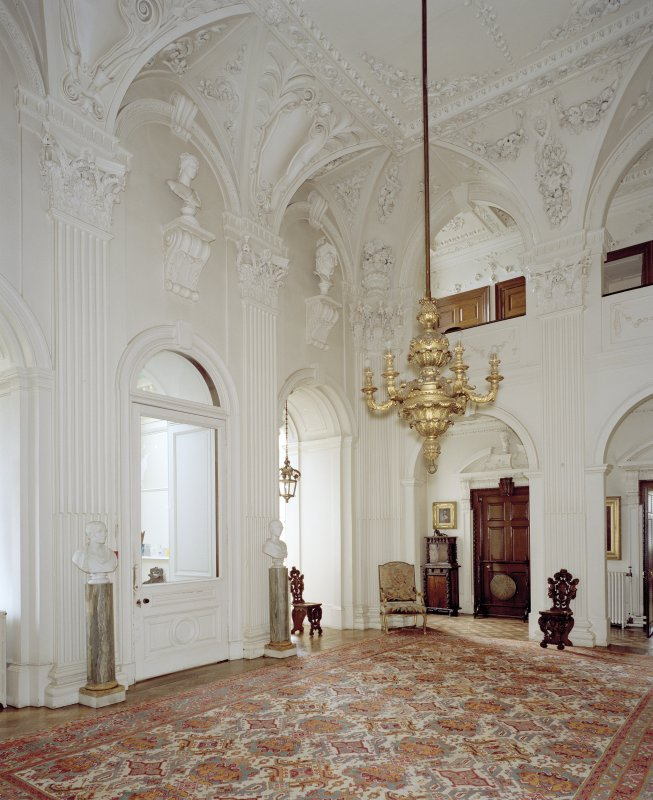 Interior.  Ground floor, hall, view from SW
