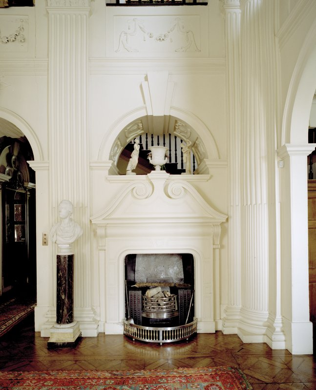 Interior.  Ground floor, hall, view of chimney-piece
