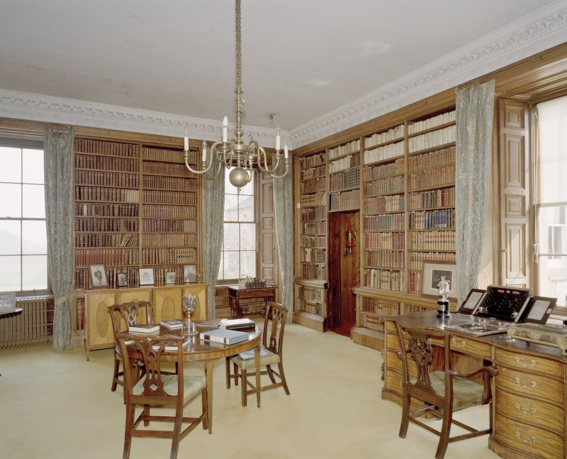 View from SW of ground floor library in Arniston House, Midlothian.