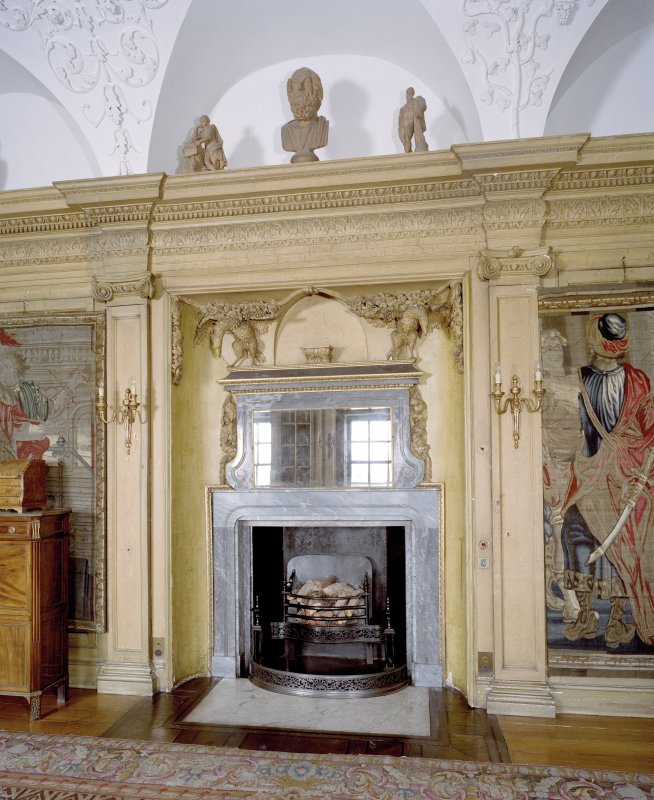 Interior.  1st. floor, old library, detail of fireplace
