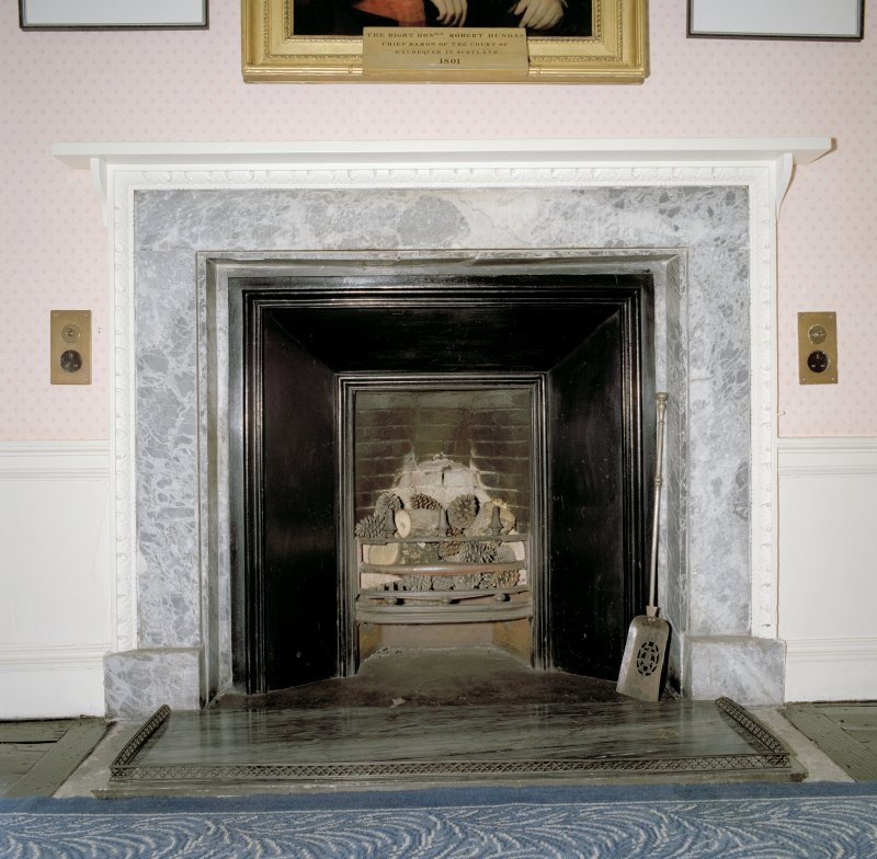 Interior.   2nd. floor, picture room, detail of fireplace