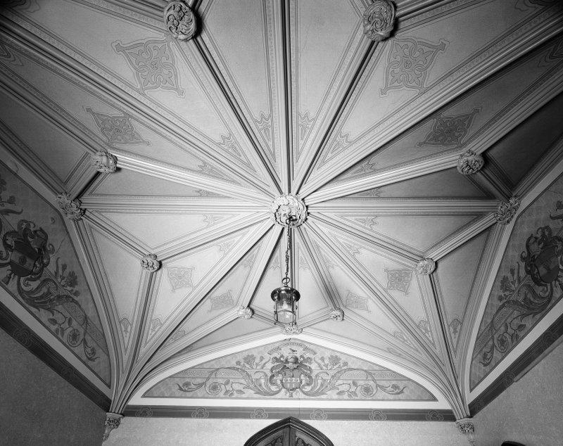 Carstairs House, interior. Detail of ceiling in North lobby, ground floor.